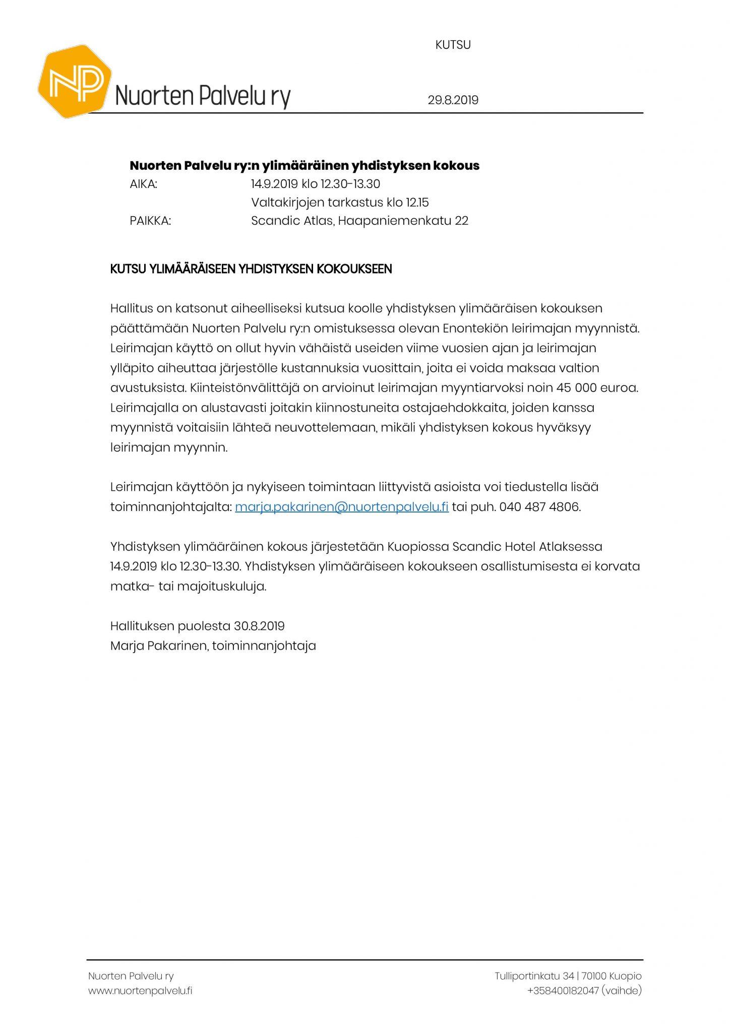 Ylimääräinen yhdistyksen kokous 140919 kutsu ja esityslista (002) (002)-page-001