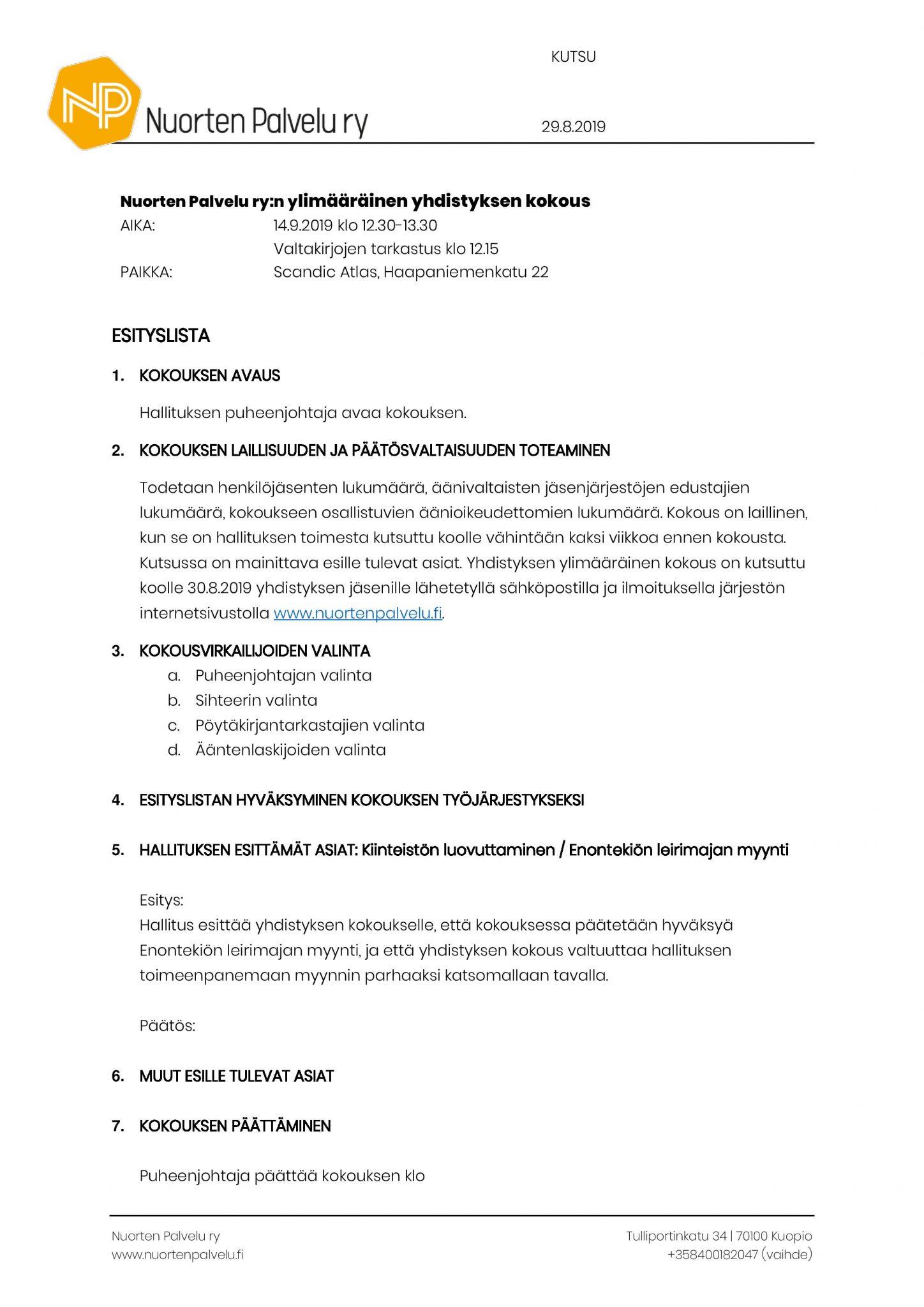 Ylimääräinen yhdistyksen kokous 140919 kutsu ja esityslista (002) (002)-page-002